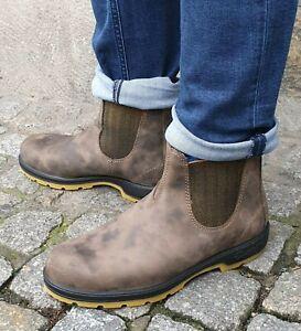 Details zu BLUNDSTONE Schuhe 1944 Brown Mustard Echtlerder Herren Chelsea Boot Stiefelette