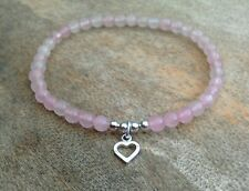 925 STERLING SILVER Pink Rose Quartz Beaded Heart Love Charm Stretch Bracelet