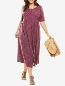 Details about Woman Within Plus Size Fig Dot Button Front Empire Waist  Dress Size 1X(22/24)