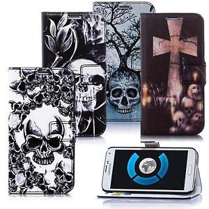 Skull-Style-Totenkopf-Design-Handy-Tasche-Schutz-Huelle-Book-Cover-Flip-Case-Etui