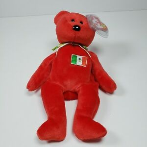 Osito Red Mexico Flag Ty Beanie Baby Retired Rare