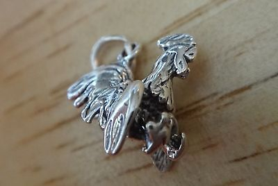 Fine Charms Sterling Silver 3D 15x17mm Fancy Rooster Gamecock Chicken