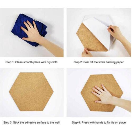 1pc Hexagon Cork Message Board Self Adhesive Tiles Bulletin For Home Wall Decor