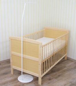 freistehende himmelstange mit fuss wei f r babybett kinderbett 140x70 ebay. Black Bedroom Furniture Sets. Home Design Ideas