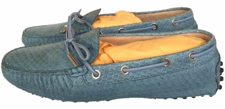 TOD'S DRIVERS PYTHON SNAKE SNAKESKIN BLUE DRIVERS TOD'S DRIVING SHOES LOAFERS FLAT FLATS 36.5 065091