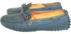 a812eb890e1 TOD S PYTHON SNAKE SNAKESKIN BLUE DRIVERS DRIVING SHOES LOAFERS FLAT ...