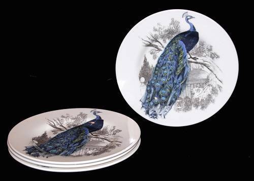 4 Colorful PEACOCK Carly Dodsley Salad Plates Made in England NEW HTF
