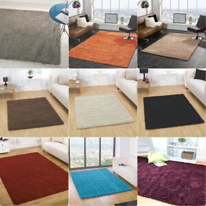 moderne-epais-Tapis-Shaggy-Souple-en-differentes-couleurs-Petit-Large-rond