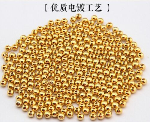 100//1000pcs golden silve plated metal small round bead bead Shining silver beads
