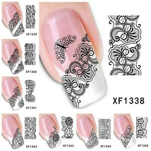 Black lace mehndi design water transfer tips nail sticker decal image is loading black lace mehndi design water transfer tips nail prinsesfo Gallery