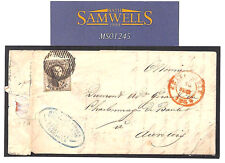 MS1245 1854 BELGIUM *Chatelet* Entire Letter Tamines Aurelois 10c Four Margins