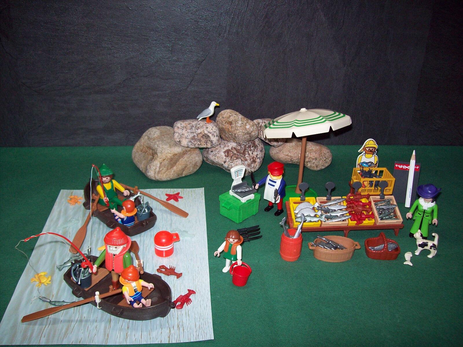 Playmobil Nostalgie Fischmarkt am Hafen (ähnlich 5342-A/1996), ohne OVP