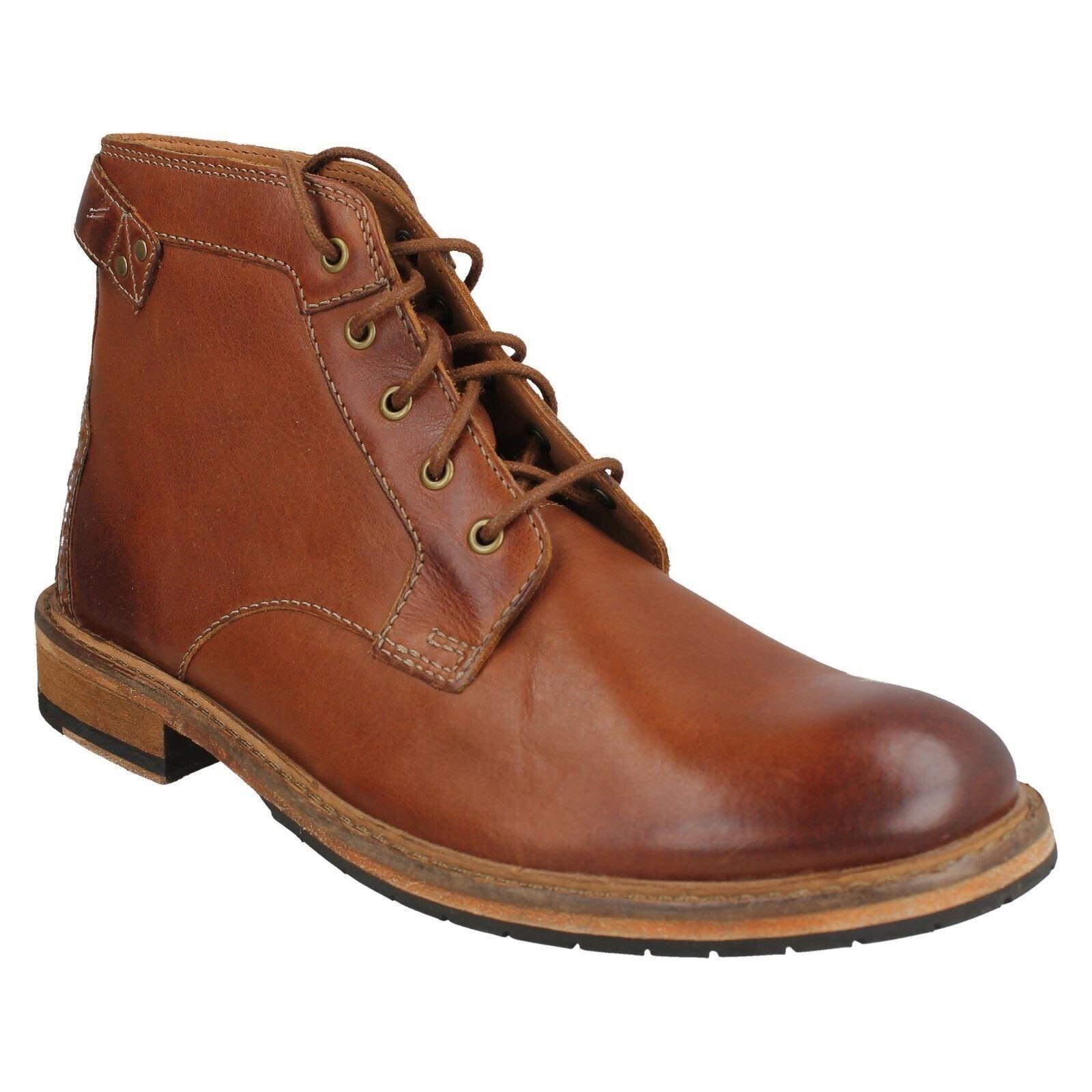 Herren Clarks dunkelbraun Leder Schnürschuhe Formell Stiefeletten Schuhe Größe
