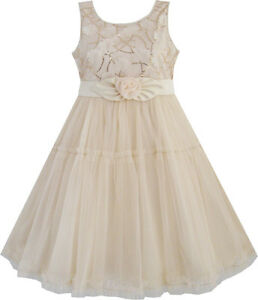 99d6c80f9e Image is loading Girls-Dress-Shinning-Sequins-Beige-Tulle-Layers-Wedding-
