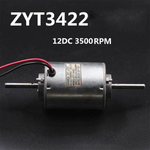 ZYT3422 12V DC Motor Double Ball Bearing Shaft Motor Silent Motor 3500RMP