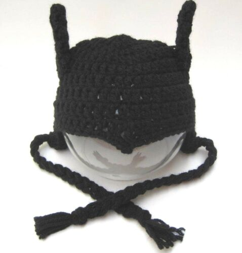 "CROCHET /""BATMAN/"" inspired HAT infant to adult sizes black beanie photo prop USA"