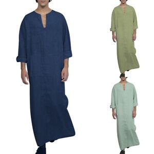 Herren-Casual-Baumwolle-Robe-Langarm-V-Ausschnitt-Kaftan-TShirt-Lang
