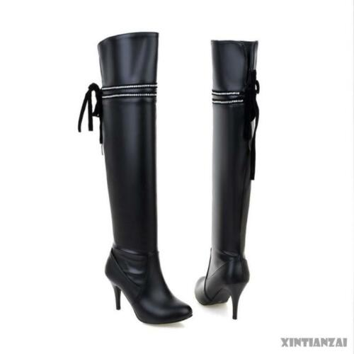 Over Knee Boots Lady/'s Stiletto High Heel PU Leather Riding Boots Shoes All Size
