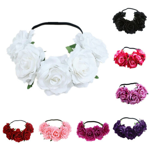 Hot Party Floral Rose Flower Headband Hair Crown Festival Boho Garland Large