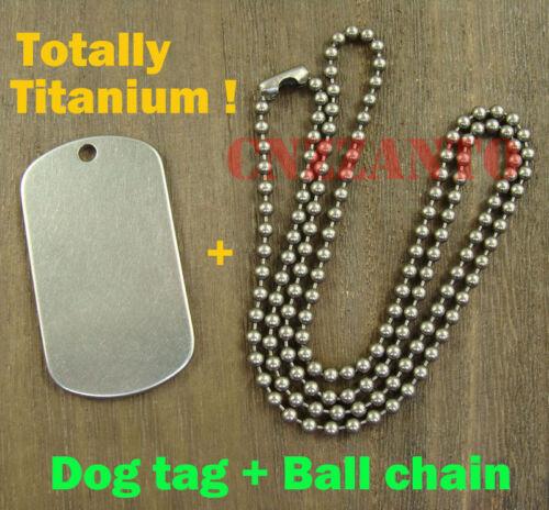 Titanium Military Army ball bead chain necklace Titanium Dog tag anti-allergy