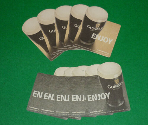 "VINTAGE DOUBLE SIDED GUINNESS ""ENJOY"" BEER MAT COASTER SET 10 ST JAMES BREWERY"