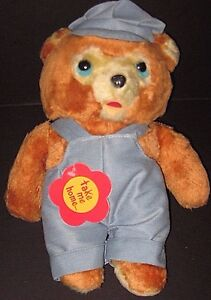 Vintage Daekor Teddy Bear Blue Overalls Cap Hudson Bay Trading Plush Stuffed Toy