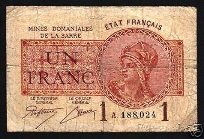 SAAR 50 CENTS P1 1919 1st BANK NOTE EURO RARE MONEY BILL FRANCE GERMANY GERMAN