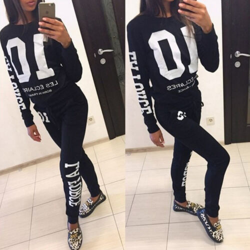 2tlg Damen Trainingsanzug Jogginganzug Sweatshirt Sweathose Sportanzug Hausanzug