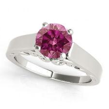 0.35 Cts Pink VS2 RDSolita e Ring 14K White Gold HPHT Valentineday Spl. Sale