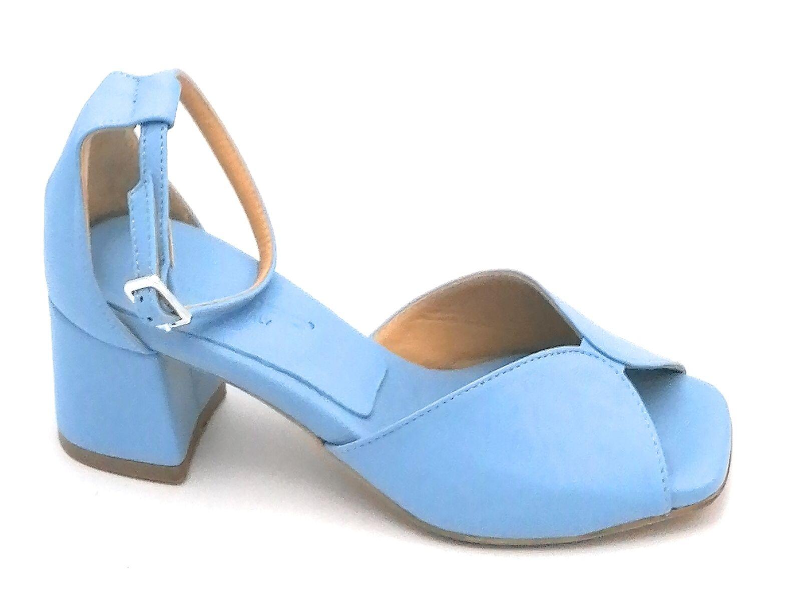 Oroscuro Bella Sandale Cuir Bleu Courroie de Cheville Talon Largo 5cm U