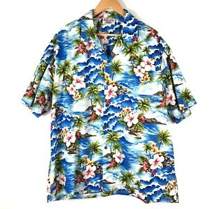 PACIFIC-LEGEND-Hawaiian-aloha-shirt-2XL-blue-tropical-beach-print-cotton-t907