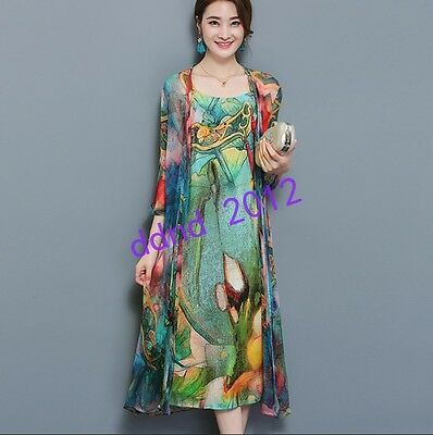 Vintage Women Real Silk Print Loose Casual Beach two-piece dress Oversize Long#
