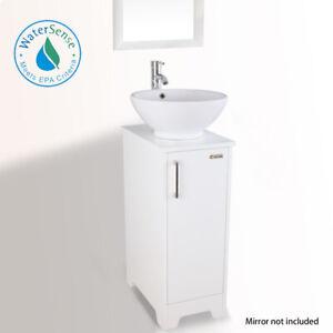 13 Small Bathroom Vanity Round Ceramic Vessel Sink Set Faucet Combo Drain White 791309272143 Ebay