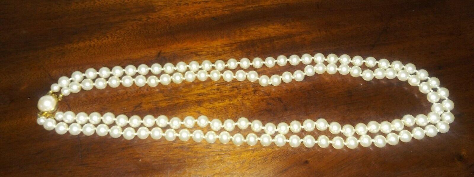 60s 70s mid century Asain bohemian boho orange beads single strand Vintage white faux pearl necklace gold tone large floral beads