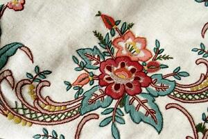 """UNUSED EMBROIDERED 1900 TABLECLOTH NATURAL DARK LINEN GORGEOUS 3D FLOWERS 65x55"""""""