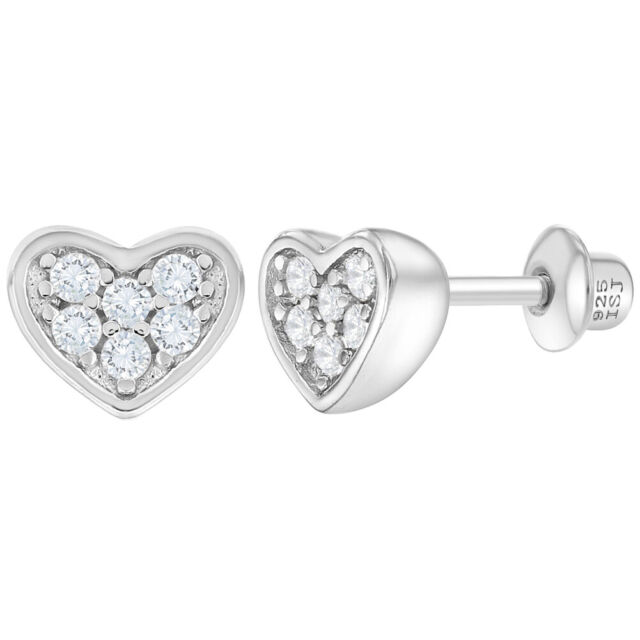 NEW 925 Sterling Silver Clear CZ Drop Earrings With 14k Gold Love Heart Jewelry