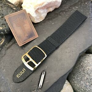 Perlon-18mm-17mm-1960s-Vintage-Watch-Band-Unused-Black-Mesh-Dive-Watch-Strap-nos