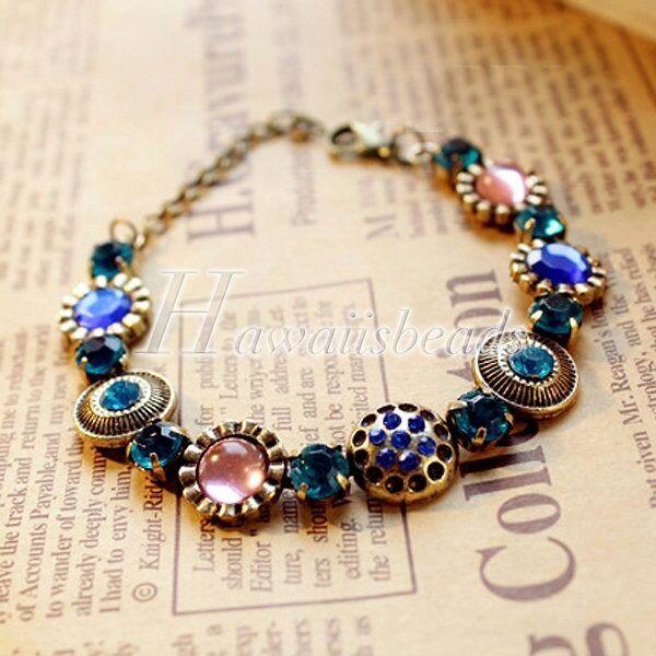 21cm Ladies Retro Vintage Antique Brass Rhinestone Bangle Bracelet Chain New