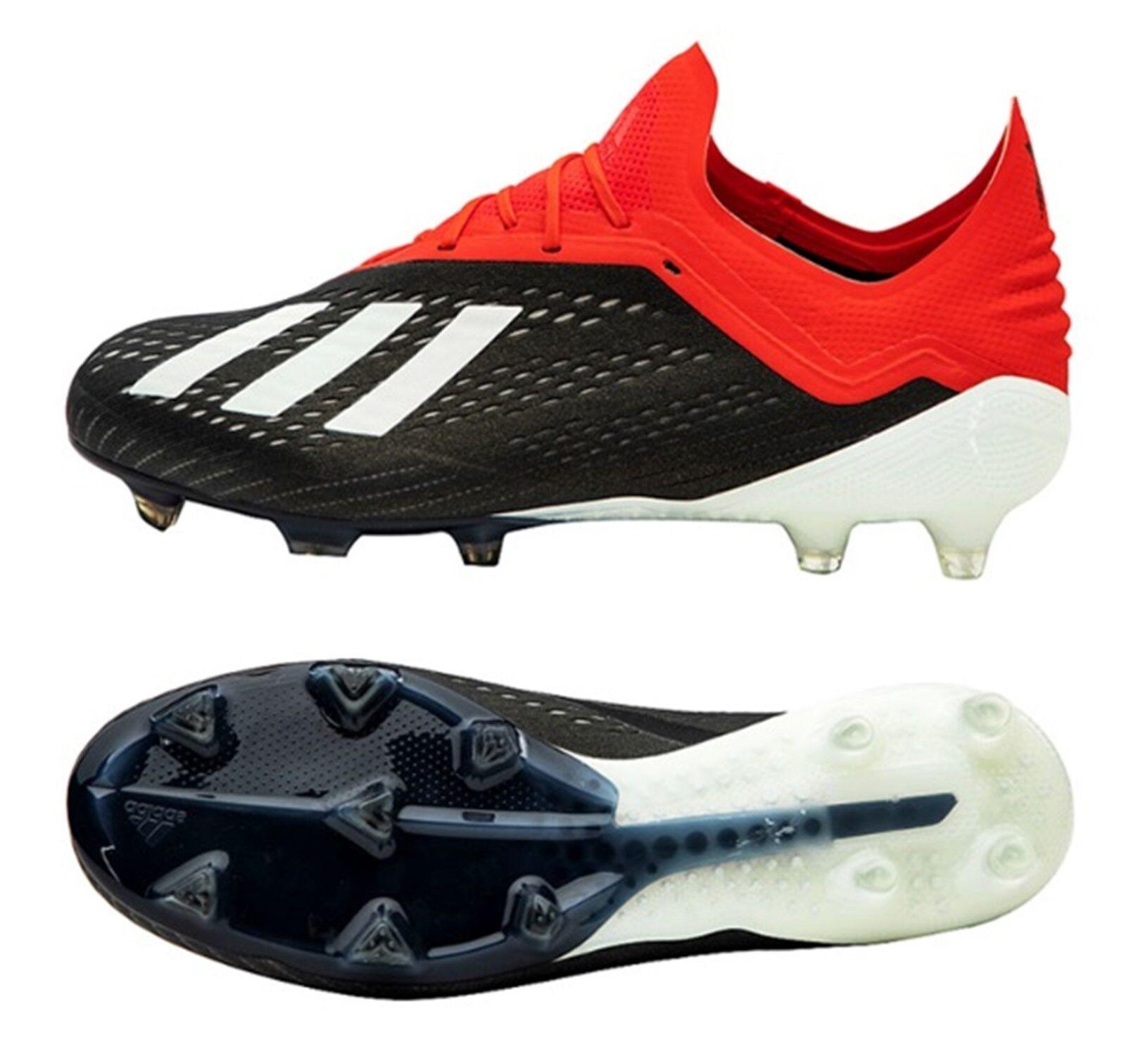 Adidas Hombres X 18.1 FG Botines De Fútbol Negro Rojo Fútbol Zapatos Bota Spike BB9345