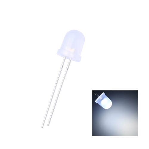 50pcs 8mm LED Diffused White 2pin Round Top Emitting Diode Lamp Lights