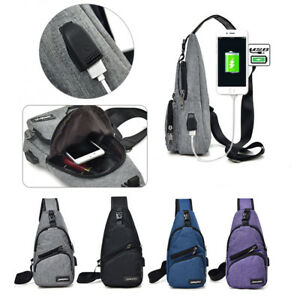 Men Anti-Theft Backpack USB Charging Port Travel Sling Bag Crossbody Chest Pack