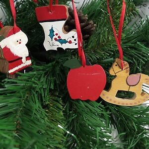 Country Christmas Ornaments.Details About 4 Vintage Country Christmas Wood Ornaments Handcrafted Santa Apple Sock Horse