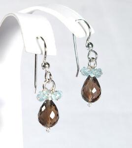 Delicate-Handmade-Aquamarine-amp-Smoky-Quartz-Dangle-Drop-Silver-Earrings-NEW