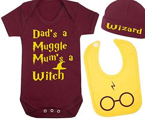 Muggle y Bruja Harry Potter Inspirado Bebé Chaleco Sombrero Y Babero Set Bebé Regalo