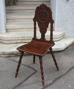 Antiker FREIMAURER LOGE Stuhl von 1916 Eiche feine Schnitzereien und Symbole