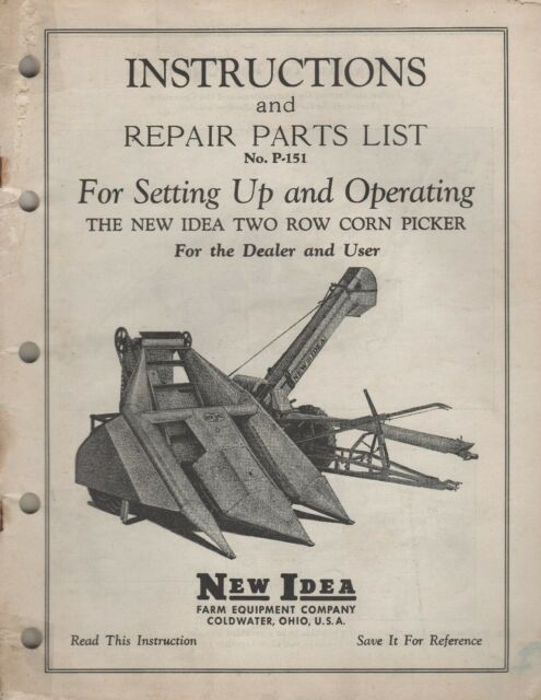 New Idea Two Row Corn Picker Instructions  U0026 Repair Parts