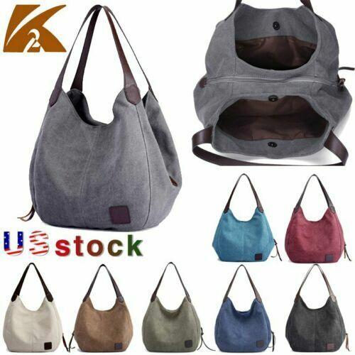 Women Canvas Handbag Shoulder Bags Large Tote Purse Travel Messenger Casual Bag
