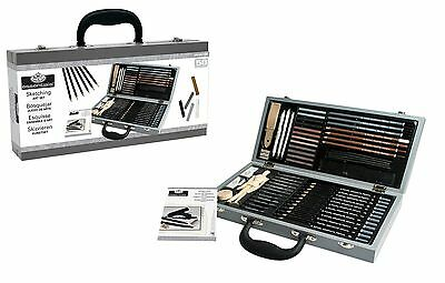 DELUXE SKETCHING BOX SET DRAWING PAD PENCILS PASTELS CHARCOAL MANNEQUIN & MORE