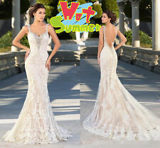 Straps Beaded Backless Lace Mermaid Bridal Gowns Wedding Dresses All Size Custom