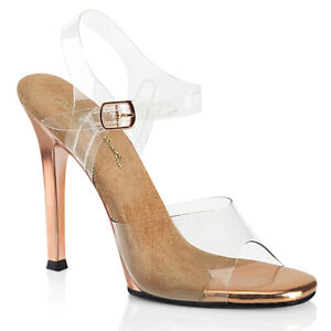 Fabulicious GALA-08 Clear Rose Gold Stiletto